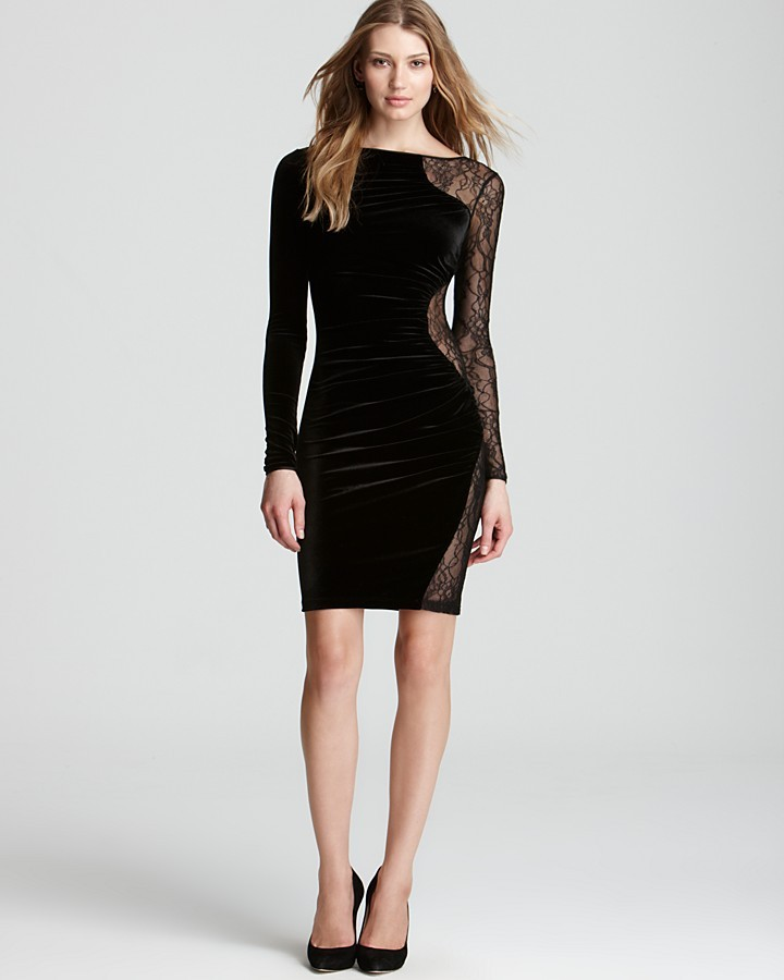 ABS by Allen Schwartz Velvet Dress - Long Sleeve with Lace