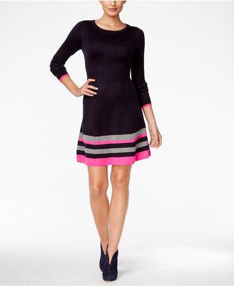 Jessica Howard Striped Border Sweater Dress $79 thestylecure.com
