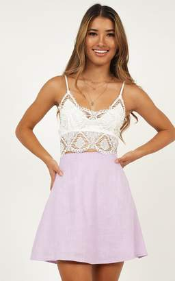 Showpo One of Us Skirt in lilac linen look