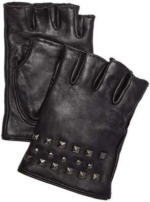 DKNY Studded Leather Fingerless Gloves