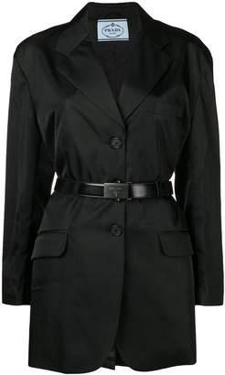 Prada belted longline blazer