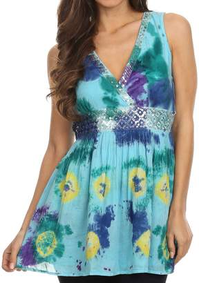 Sakkas 13518 - Allena Sequin Embroidered Sleeveless Elegant V-Neck Blouse / Top - L