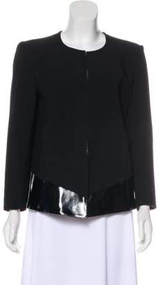 Helmut Lang Faux Leather-Accented Collarless Jacket