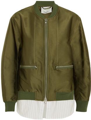 3.1 Phillip Lim - Satin And Striped Poplin Bomber Jacket - Army green