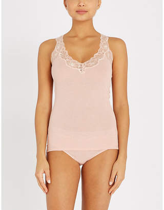 Hanro Delight lace and cotton-jersey pyjama top