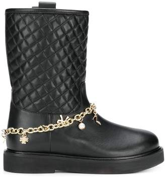 Twin-Set quilted biker boots