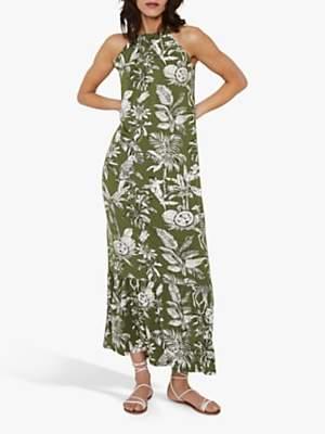Warehouse Jungle Print Halter Neck Maxi Dress, Khaki