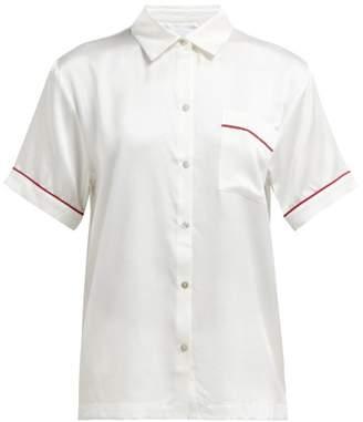 Asceno - Piped Silk Pyjama Top - Womens - White Multi