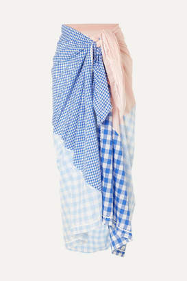 Marysia Swim Picnic Gingham Tencel And Cotton-blend Pareo - Blue