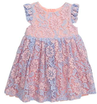 Popatu Floral Lace Flutter Sleeve Dress