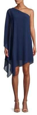 Halston H One-Shoulder Drape Dress