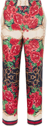 Gucci Cropped Printed Silk-twill Wide-leg Pants
