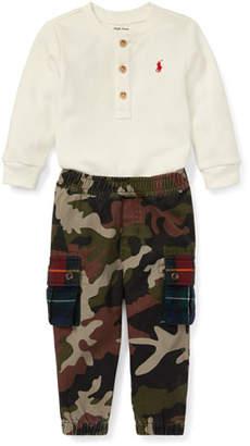 Ralph Lauren Waffle-Knit Henley Top w/ Camo Cargo Pants, Size 6-24 Months