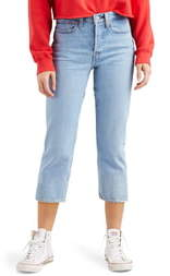 Levi's Wedgie High Waist Frayed Crop Straight Leg Jeans