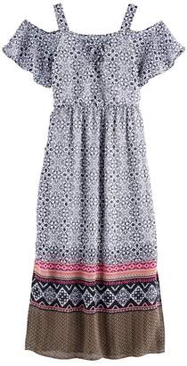 My Michelle Girls 7-16 Lace-Up Off Shoulder Maxi Dress