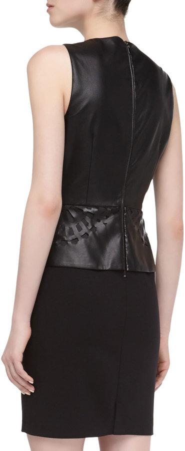 Laundry by Shelli Segal Sleeveless Faux-Leather Cutout Peplum Dress, Black