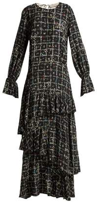 Preen Line Amina Tiered Vine Print Dress - Womens - Black White
