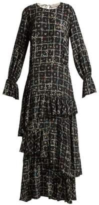 Preen Line Amina Tiered Vine Print Dress - Womens - Black White
