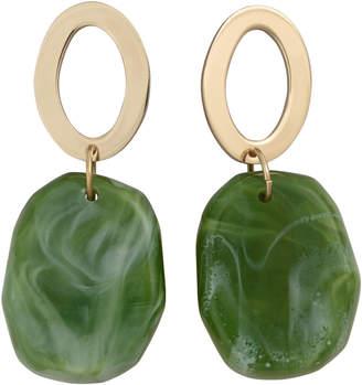Oliver Bonas Indiana Oval & Green Bead Drop Earrings