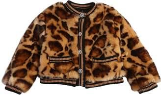 Dolce & Gabbana Leopard Printed Faux Fur Jacket