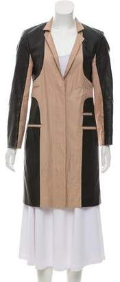 Yigal Azrouel Leather Paneled Linen-Blend Coat