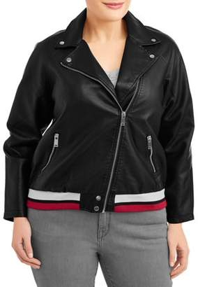 New Look Women's Plus Size Dual Stripe Leather Jacket