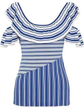 Rebecca Vallance Corsica Cold-Shoulder Ruffled Striped Jacquard-Knit Top