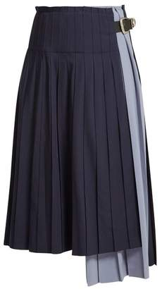 Toga Pleated Wool Skirt - Womens - Navy