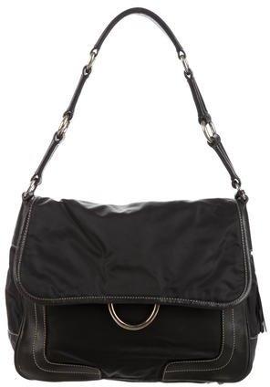 pradaPrada Leather-Trimmed Tessuto Bag