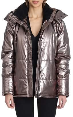 AVEC LES FILLES Metallic Puffer Coat