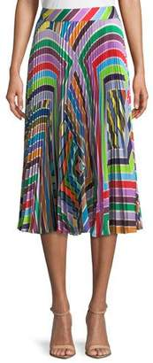 Milly Rainbow Stripe Pleated Skirt