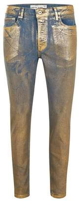 Topman Mens Gold Coated Stretch Skinny Jeans
