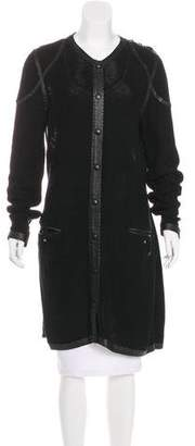 Jean Paul Gaultier Open Knit Leather-Trimmed Coat
