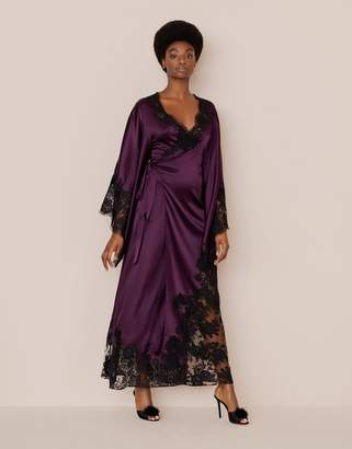 Agent Provocateur Nayeli Long Kimono Plum and Black