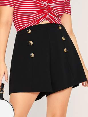 Shein Plus Zip Back Double Buttoned Tailored Shorts