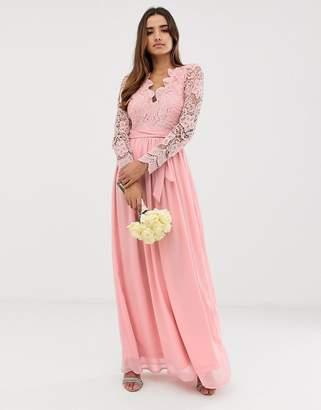 Club L London bridesmaid long sleeve crochet detail maxi dress