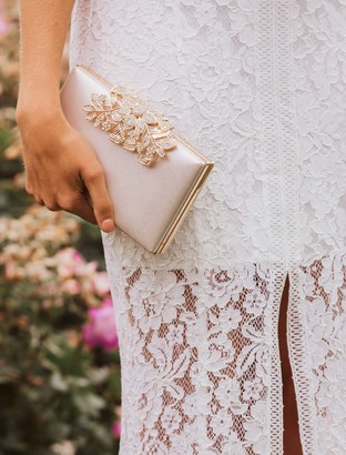 Forever New Charlotte Clutch - Nude Shimmer - 00