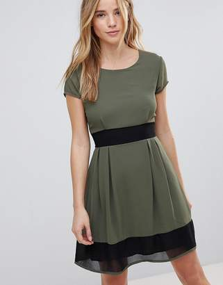 Wal G Skater Dress With Stripe Waistband And Trim