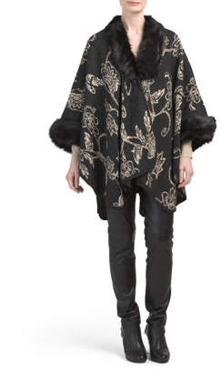 Knit Floral Ruana With Faux Fur Collar And Trim