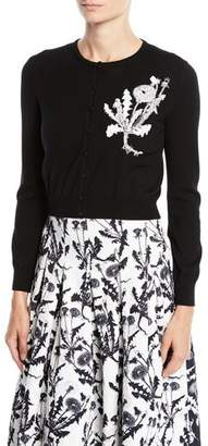 Oscar de la Renta Dandelion-Embroidered Crewneck Button-Front Cropped Wool Cardigan