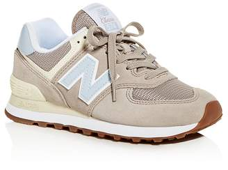 New Balance Women's Classic 574 Summer Dusk Nubuck Leather Lace Up Sneakers