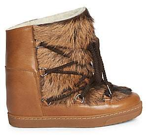 Isabel Marant Women's Nowles Shearling-Lined Goat Fur & Leather Boots