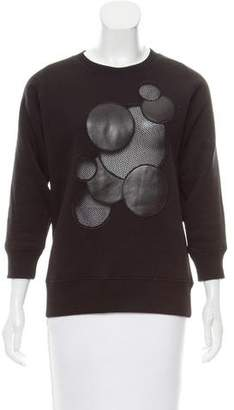 Christopher Kane Leather & Mesh-Trimmed Sweatshirt