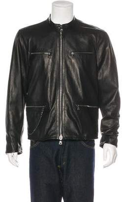 John Varvatos Leather Cafe Racer Jacket