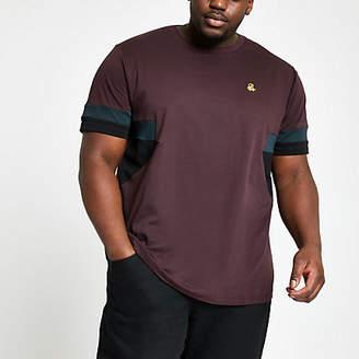 River Island Big and Tall R96 burgundy splice T-shirt