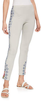 Johnny Was Davis Leggings with Floral Embroidery