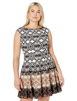 Gabby Skye Women's Plus Size Cap Sleeve Round Neck Printed Fit and Flare Dress