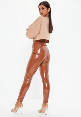 Missguided Camel Vinyl Pants