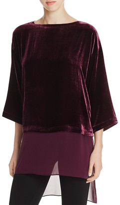 Eileen Fisher Sheer Hem Velvet Top $278 thestylecure.com