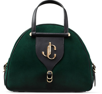 Jimmy Choo VARENNE BOWLING/M Dark Green Suede and Black Vacchetta Leather Bowling Bag with Gold JC Logo